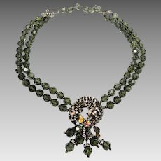 Vintage Crystal Rhinestone Necklace Smoky Gray Rose Montees