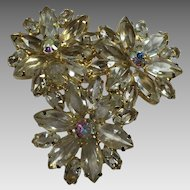 Vintage Rhinestone Brooch Floral Pin Clear Glass Navettes Aurora Borealis
