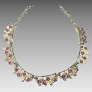 Vintage Mid Century Necklace Pink Rhinestone Coro Atomic