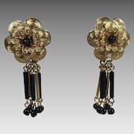 Vintage Earrings Gold Black Floral Bugle Bead Drops