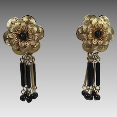 Vintage Earrings Gold Black Floral Bugle Bead Drops