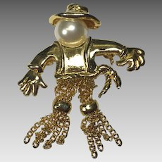 Vintage Scarecrow Pin Brooch Dangling Chain Legs