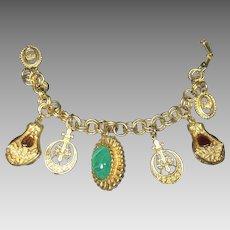 Vintage Charm Bracelet Chunky Renaissance Style