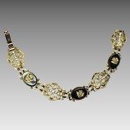 Vintage Glass Rhinestone Bracelet Black Gold Rose Cameo