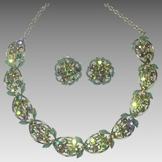 Vintage Rhinestone Necklace Earrings Sea Green