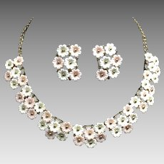 Vintage Necklace Earrings Floral Plastic Pink White