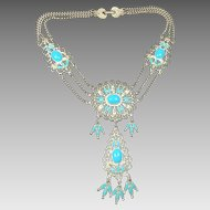 Vintage Necklace Native American Style Faux Turquoise Festoon