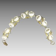Vintage Bracelet Rhinestones Plastic Flowers