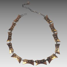 Vintage Renoir Copper Necklace Geometric Mid-Century