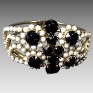 Vintage Rhinestone Bracelet Clamper Black White