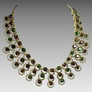 Vintage Rhinestone Necklace Collar in Jewel Tones