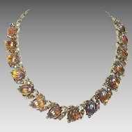 Vintage Necklace Coro Art Glass Amber Rhinestone