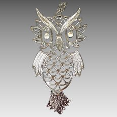 Vintage Owl Necklace Articulated Rhinestone Eyes