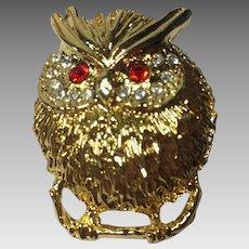 Vintage Owl Brooch Pin Rhinestone Paved Eyes