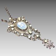Vintage Opal Rhinestone Pendant Necklace Victorian Renaissance Style Costume
