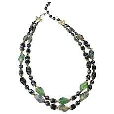 Vintage Art Glass Bead Necklace Green