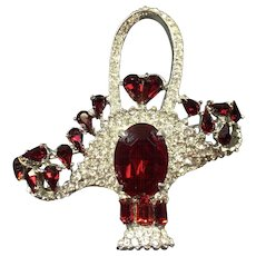 Vintage Rhinestone Brooch Basket Red Hearts Weisner