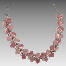 Vintage Pink Lucite Rhinestone Necklace Lisner Hearts