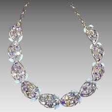Vintage Rhinestone  Necklace Coro Blue Pink Aurora Borealis