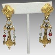 Vintage Earrings Renaissance Egyptian Revival Style Gold Beads