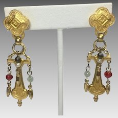 Vintage Earrings Renaissance Egyptian Revival Style Gold Beads