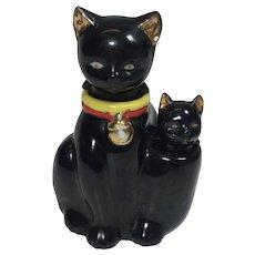 Vintage Salt Pepper Shaker Nodder Black Cat Kitty