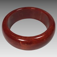 Vintage Bakelite Bangle Bracelet Red Swirl Wide