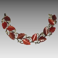 Vintage Bracelet Thermoset Leaf Red Cinnamon