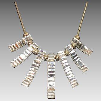 Vintage Rhinestone Necklace Runway Baguette Bib