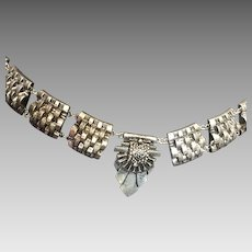 Vintage Steampunk Metal Belt Necklace Silver Black Chain