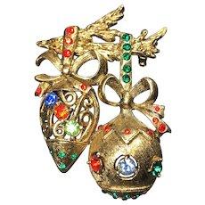 Vintage Christmas Brooch Ornaments Rhinestone Beatrix