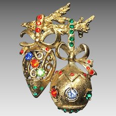 Vintage Christmas Brooch Pin Ornaments Rhinestone Beatrix