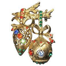 Vintage Christmas Brooch Pin Ornaments Rhinestone Beatrix