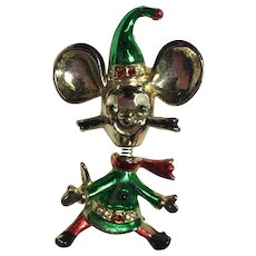 Vintage Christmas Pin Brooch Mouse Elf Trembler Beatrix BJ