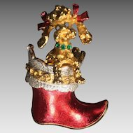 Vintage Christmas Pin Brooch Poodle Dog Boot Mylu