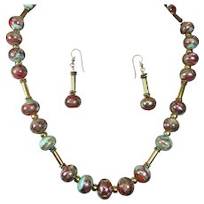 Vintage Art Glass Bead Necklace Earrings Set Copper Gold Green
