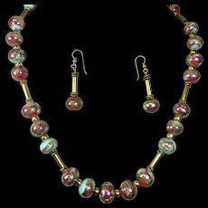 Vintage Art Glass Bead Necklace Earrings Set Copper Gold Green