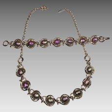 Vintage Carnival Glass Necklace Bracelet Set