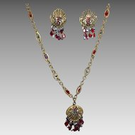Vintage Hobe Rhinestone Crystal Pendant Necklace Earrings Art Deco