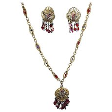 Vintage Hobe Rhinestone Crystal Pendant Necklace Earrings Art Deco