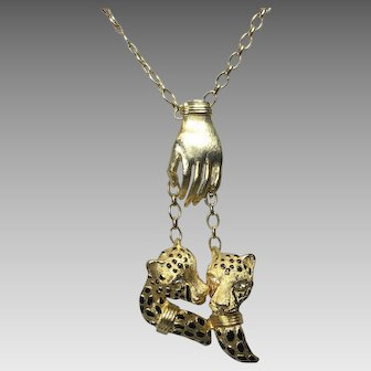 Vintage Leopards Necklace Hand Holding Pendant Chain
