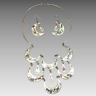 Vintage Mexican Alpaca Silver Abalone Bib Necklace