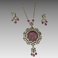 Vintage Goldette Intaglio Necklace Bezeled Glass Earrings
