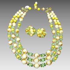 Vintage Bead Necklace Earrings Crystal Plastic Three Strands