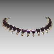 Vintage Necklace Thermoset Plastic Rhinestone Purple Butterfly