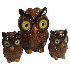 Vintage Owl Salt Pepper Shakers Set Napkin Ceramic