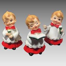 Vintage Christmas Josef Originals Choir Boy Trio Set