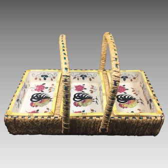 Vintage Rooster & Roses Condiment Dishes in Basket