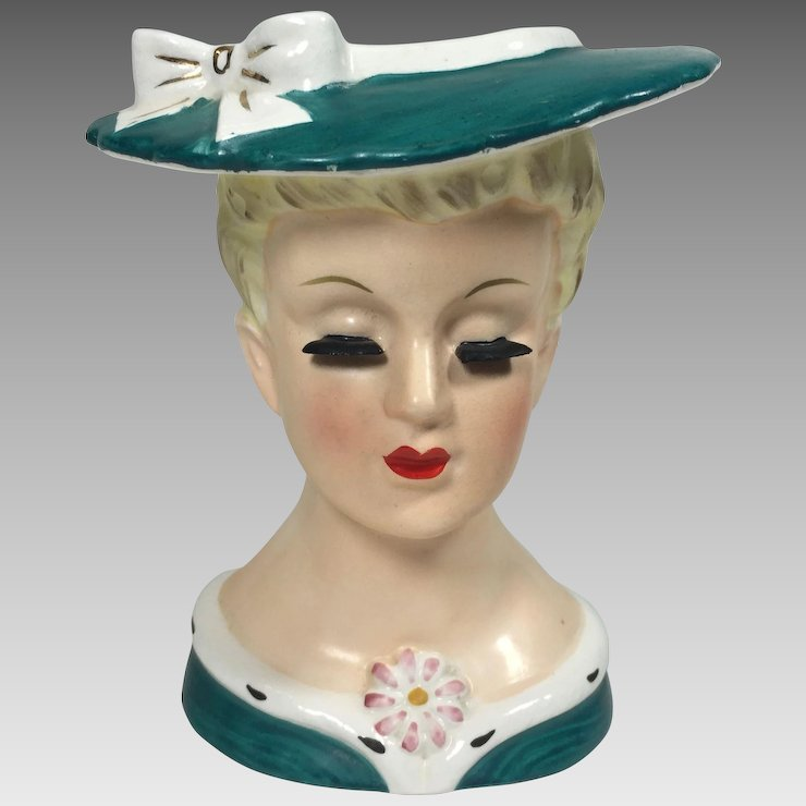 Sweet Napco Lady Head Vase W Green Suit Hat Heads Up Vintage