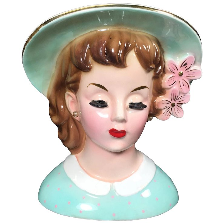1960s Napco Lady Head Vase W Bonnet Pink Flowers Sold Ruby Lane